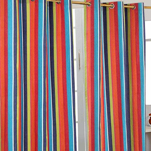 Homescapes Ösenvorhang blickdicht Multi Streifen Orange Blau Gelb Dekoschal 2er Set Breite 137 x Länge 182 cm Vorhang Paar 100% Baumwolle -