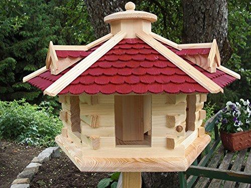 Vogelhaus Vogelhäuser Vogelfutterhaus-(V035)-Vogelhäuschen-aus Holz- Schreinerarbeit-Gaube Schwarz sehr Groß