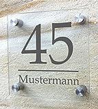 Hausnummer, Hausnummernschild aus besonders hochwertigem Arcylglas, Plexiglas. mit Wunschdruck! Beschriftet nach Ihren individuellen Vorgaben. Inkl. rostfreien Aluminiumbefestigungen. (20 x 20 cm, Dekor - Variante 1)
