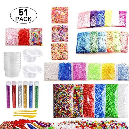 Slime Supplies Kit, 51 Pack Charmes de perles Slime comprennent des perles Floam, des perles Fishbowl, des bocaux à paillettes, des tranches de fruits, une perle arc-en-ciel, des accessoires en papier à sucre coloré