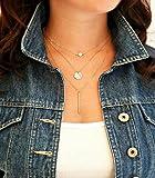 Damen Anhänger Halskette Knochen Kette Doppelkette (2 Sets, Gold + Silber)
