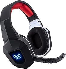 BliGli drahtloses Headset 2.4Ghz optisches Geräusch, das USB-Spiel-Kopfhörer mit Mic für XBOX 360, XBOX ONE, PS4, PS3, PC annulliert (Red)