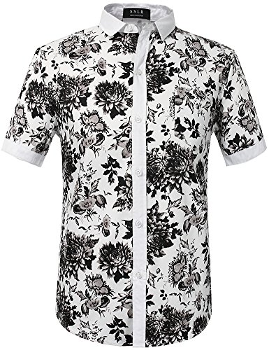 SSLR Herren Hawaiihemd Casual Kurzarm Floral Blumendruck Ahloa Freizeit Hawaiian Hemd (Medium, White) -