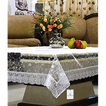 6de4760ea1a Kuber Industries™ Transparent 3D Design Center Table Cover 4 Seater 40   60  Inches (Silver Lace)