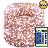 LED Fairy Lights Copper Wire 50M 165FT 500LED with Remote Control Decorative IP65 Waterproof String Lights for Christmas Trees, Holiday,Party, Garden, Outdoor, Indoor, Wedding, Patio (Cool White)