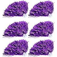 6Pcs Pompones de Cheerleading Pom Poms Fiesta Deportes Accesorios de Baile(púrpura)