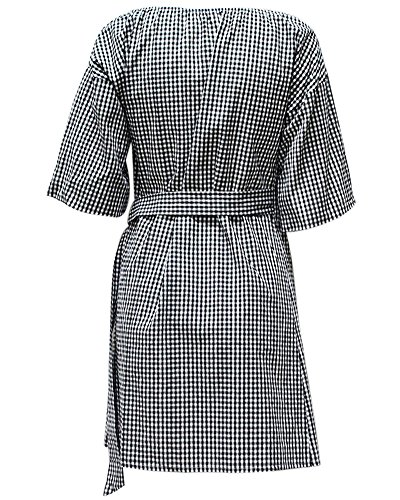 Damen Mini Kleid Schulterhemd Kleid Striped Plaid Deep V Neck Taille Strap Drop Schulter Party Mini Kleid Schwarz
