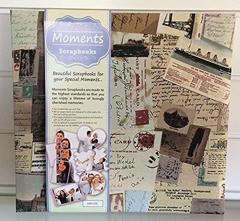VOPSB10 Reisetagebuch/ Fotoalbum mit verziertem Stoffeinband und weißen Einsteck-Papierseiten, Polypropylen-Schutzhüllen