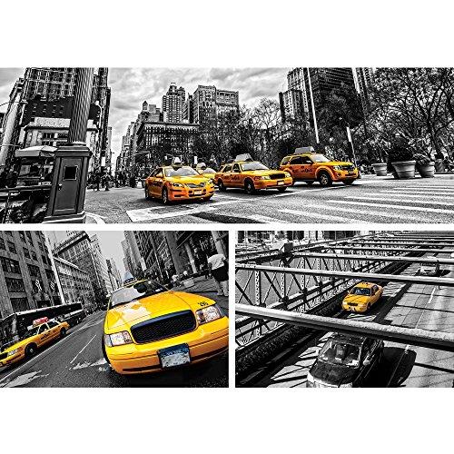 Vlies Fototapete PREMIUM PLUS Wand Foto Tapete Wand Bild Vliestapete - New York Brücke Taxi Haus Bäume Bus Fahne Fluss Menschen Straße - no. 849, Größe:200x140cm Vlies Fluss Menschen
