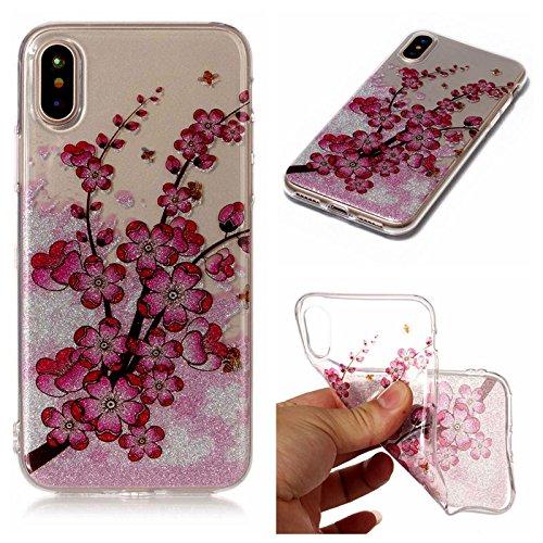 iPhone X Hülle ,Fodlon® Ultra Slim Fit TPU Gel Skin BlinkenPulver Schutzhülle / Case / Cover -Feder Zweige Pflaumenblüte