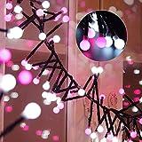 150er LED Kugel Lichterkette - ELINKUME 3,5M/11,5ft Romantische Weiß+Rose Globe Deko Lichter Batteriebetrieben String Licht Dekorative Beleuchtung für Weihnachten Garten Balkon Fenster