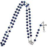 Yuccer Collar de Rosario, Católico Collar Perlas Rosario Suelo Santo Colgante Cruzado Collar con Bolsa de Regalo, Regalos de