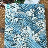 Youmu japonés algodón lino tejido búho ola de mar cortina de gamuza