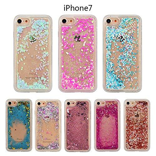 WE LOVE CASE iPhone 7 Coque, Étui de Transparent et Clair Coque Souple Liquide Bling Briller, Housse de Protection en Premium Silicone Mince Case Pour iPhone 7 - Rose rouge
