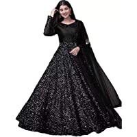 Evess Women's Velvet Sequins Semi-Stitched Anarkali Gown