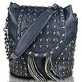 Miss Lulu - Bolso mochila de cuero de imitación para mujer Azul azul marino