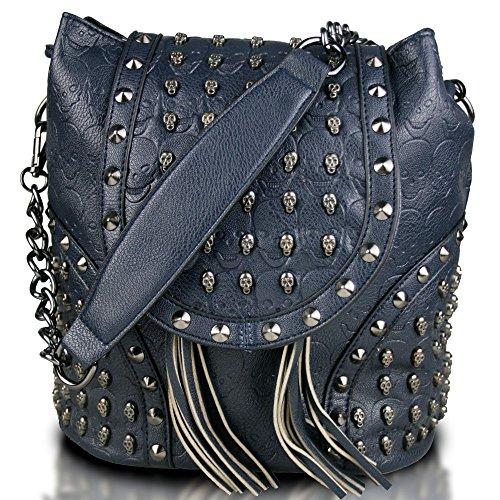 Miss Lulu - Bolso mochila de cuero de imitación para mujer Azul...