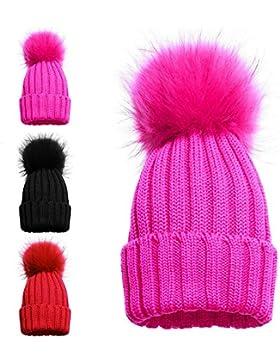 Gorro tejido de invierno para niña con pompón individual y doble 1 POM POM HAT PINK