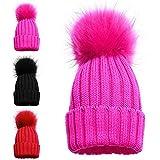 Mädchen-Wintermütze mit ein oder zwei Bommeln, gemütliche Strickmützen, Kappen für Kinder 1 POM POM HAT PINK