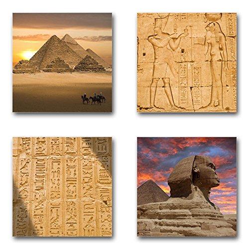 Preisvergleich Produktbild Ägypten - Set A schwebend, 4-teiliges Bilder-Set je Teil 29x29cm, Seidenmatte moderne Optik auf Forex, UV-stabil, wasserfest, Kunstdruck für Büro, Wohnzimmer, XXL Deko Bild