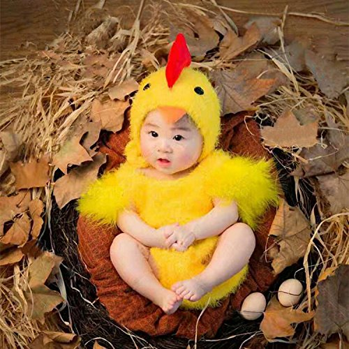 THEE Baby Kostüm Hühnchen Säugling Fotografie Overall Fotoshooting Requisit ,Gelb Kostüm,3-6 Monate