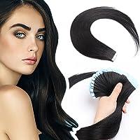 Elailite Extension Capelli Veri Biadesivo Tape Adesive 20 Fasce Biadesive senza Clip Remy Human Hair 30g/Set, 20cm #1…