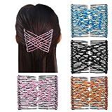 4 pcsCheveux Extensibles Magique,Peignes de Cheveux Perles Pinces Clips Double Coiffure pour Femme Fille( 4 couleur)