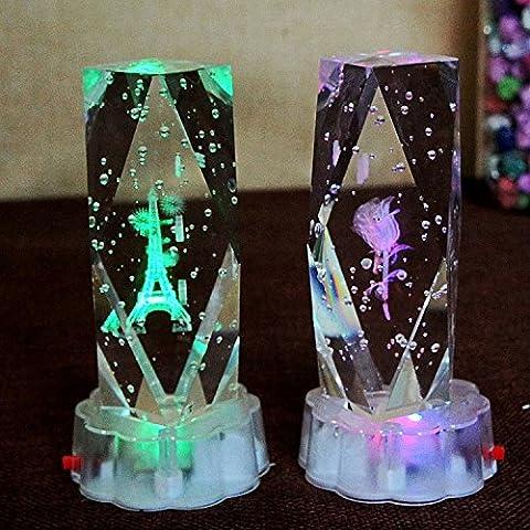 ZTYR Cadeaux 3D laser LED lumière tour de cristal rose ornements