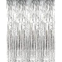 Asunflower 6.5Ft Metallic Tinsel Silver Foil Fringe Curtains Backdrop Christmas Hanging Streamers for Party/Prom/Birthday Favors