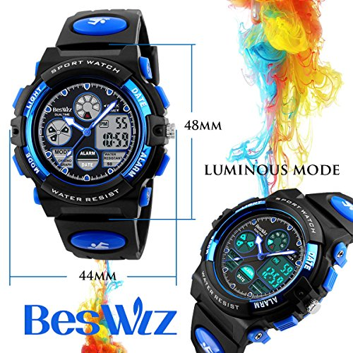 BesWLZ Boys Watches Multifunction Dual Time Digital Watches Alarm Sports Waterproof Kids Watches (Blue)