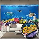 Fototapete Aquarium Wandbild Dekoration farbenfrohe Unterwasserwelt Meeresbewohner Ozean Fische Delphin Korallen-Riff Clownfisch  Foto-Tapete Wandtapete Fotoposter Wanddeko by GREAT ART (336 x 238cm)