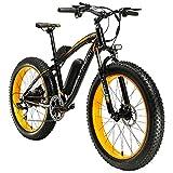 Extrbici E-Bike Mountainbike,XF660 500W 48V 10,4 Ah Akku,26 'X4.0 MTB Reifen,Elektrofahrrad 17 Zoll Aluminiumlegierung Rahmen 7 Geschwindigkeit Shimano Schaltwerk (Black Yellow)