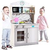 Goplus Grande Cucina Giocattolo per Bambini, Tavola Divertimento in Legno con Accessori , 94x60x30 cm