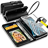 For Samsung Galaxy A3 (2016) -Noir Rich Luxury Leather Support Wallet flip Case Cover et en verre trempé Protector