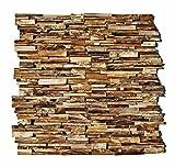 HO-003 - 1 Mosaik-Fliese auf Netz 3D Teakholz Wandverkleidung Verblender Wandverblender Wandfliese Wanddekoration Stein-Mosaik Fliesen Lager Verkauf Herne NRW