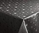 Lurex Sterne Tischdecke, Gold oder Silber glänzend, Weihnachtstischdecke Größe wählbar (Rund 160 cm Grau-Silber)