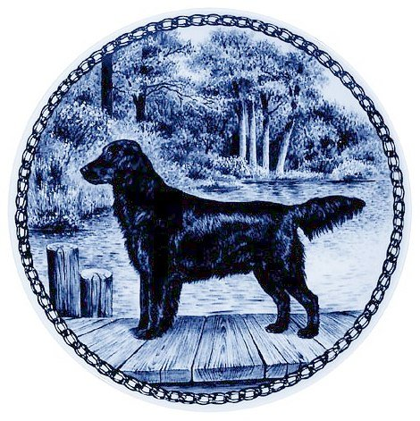 Flat-coated Retriever / Lekven Design Dog Plate 19.5 cm /7.61 inches Made in Denmark NEW with certificate of origin PLATE #7374