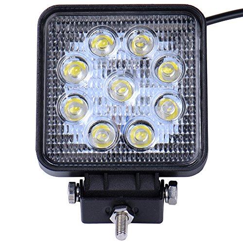 Viugreum 27W 2700LM Platz LED Arbeitsscheinwerfer, 12V 24V LED Offroad, Flutlicht Reflektor Scheinwerfer Arbeitslicht für SUV Truck Car und Mehr, IP67 Scheinwerfer Rückfahrscheinwerfer -