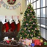 COSTWAY Weihnachtsbaum Künstlicher Tannenbaum mit LED-Lichterketten Christbaum beleuchtet 210/225/240cm Grün (210CM)
