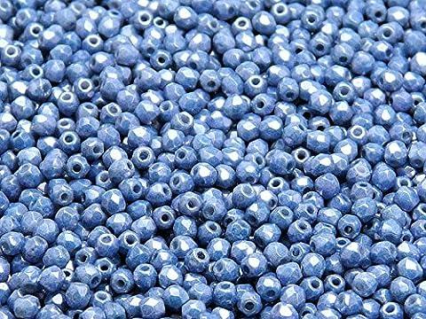 100pcs Tchèque facettes perles de verre, Fire-Polished Beads, ronde 3mm Chalk Blue Luster