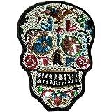 Escudo de calavera mejicana con lentejuelas de colores bordadas, parche termoadhesivo de gran tamaño,