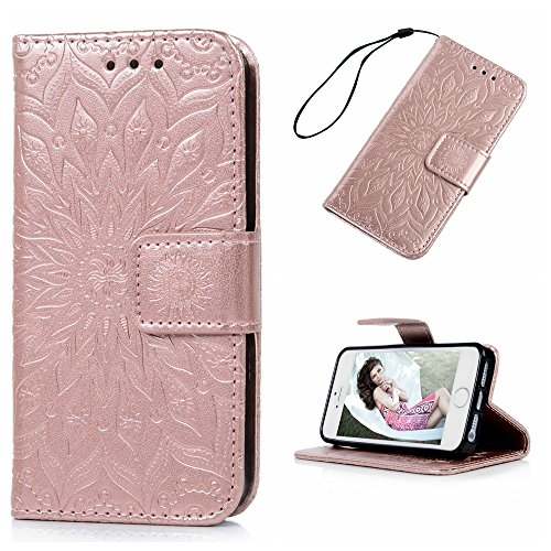 MAXFE.CO Lederhülle Tasche Case für iPhone 5 SE Hülle PU + TPU Schutz Etui Schale Backcover Flip Cover 3D im Bookstyle mit Standfunktion Kartenslots-Traumfänger 1 Rose Gold
