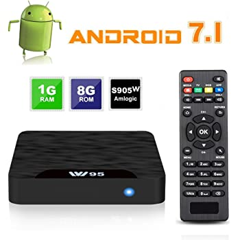 W95 4K Android 7.1 TV Box, 2018 Model C Smart TV Box, Amlogic S905W Quad-Core, 1GB RAM & 8GB ROM, 4K Ultra HD, H.265/WiFi 2.4GHz Smart TV Box, Support HDMI and AV Output with Remote Control