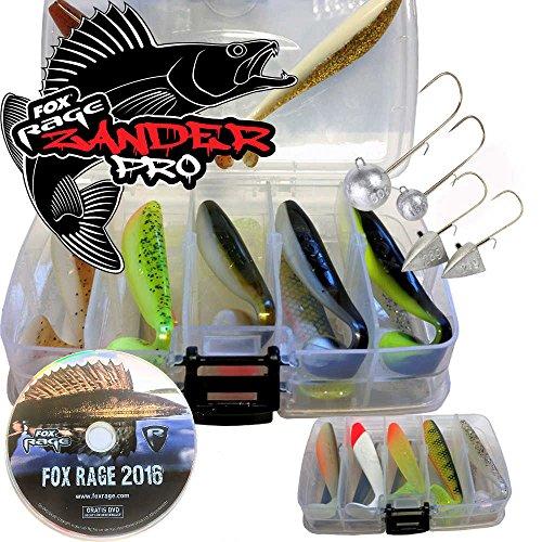 Fox Rage Zander Shad Deluxe Set 12 Farben mit Plano Box und DVD