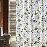 PEIWENIN-Cortina de ducha de la cortina de ducha de la cortina de ducha del patrón de la flor del cuarto de baño de la cortina de ducha del baño del espesamiento impermeable del cuarto de baño, anchura: 300 * alto: los 200cm