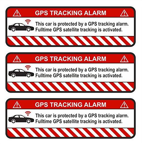 Finest-Folia 3X GPS Aufkleber Fahrrad Motorrad Auto Alarm Warnung Anti Diebstahl Sticker Tracker gesichert (Weiß, Auto)