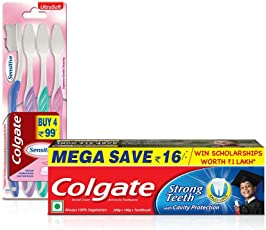 Colgate Strong Teeth Toothpaste - 200 g with 100 g and Sensitive Toothbrush (Pack of 4)