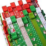 El paquete incluye 26pcs/26m cintas para Navidad. Especificaciones: Longitud de cada cinta: aprox. 1 m. Anchos distintos: desde 0,6cm hasta 2,5cm. Cantidad: 26pcs. Material: poliéster, algodón.Características: ✿ Impresión en tema divertido de...