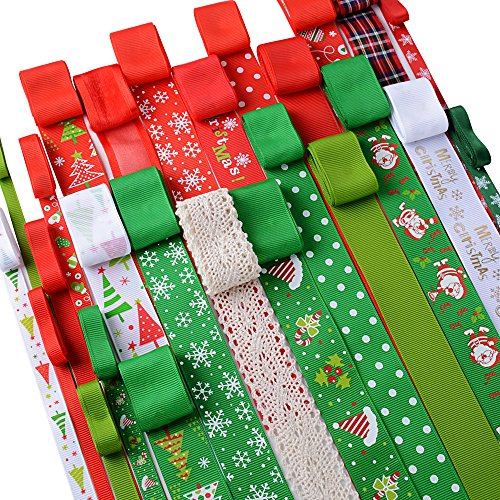 AONER 26 STK / 26 Meter Weihnachtsbänder Ripsband Dekoband Schleifenband Satinband Satin Geschenkband für Weihnachten Hochzeit Verzieren DIY Handwerk Weihnachtsband