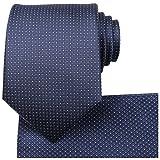 Kissties - Juego de corbata, pañuelo de bolsillo cuadrado y caja de regalo para hombre azul azul marino oscuro Estándar